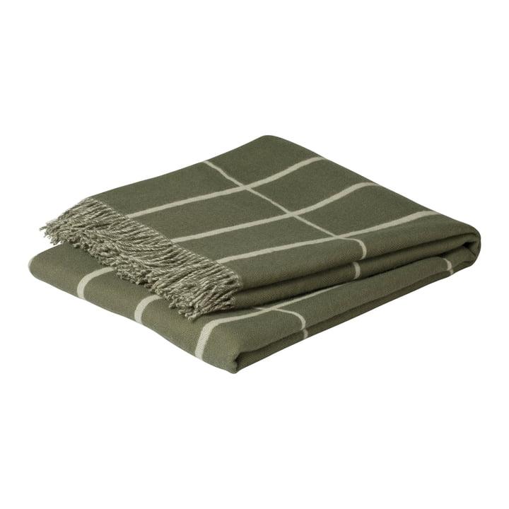 Tiiliskivi Wolldecke 130 x 180 cm, graugrün / weiß von Marimekko