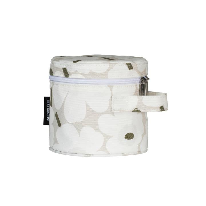 Liuske Mini Unikko Kosmetiktasche, beige / weiß / graugrün von Marimekko