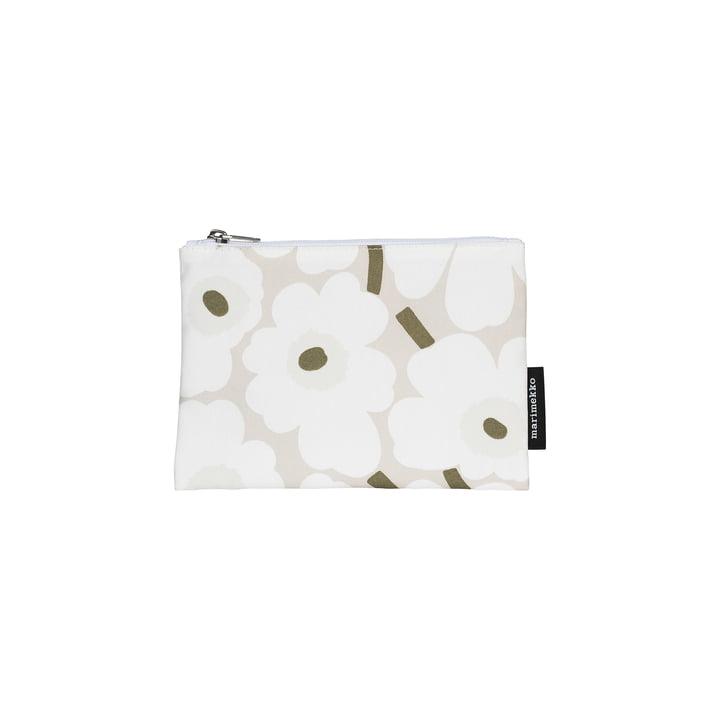 Kaika Mini Unikko Kosmetiktasche, beige / weiß / graugrün von Marimekko