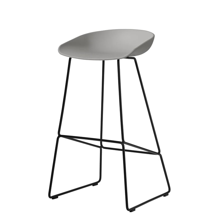 About A Stool AAS 38 Barhocker H 85 von Hay in schwarz / concrete grey