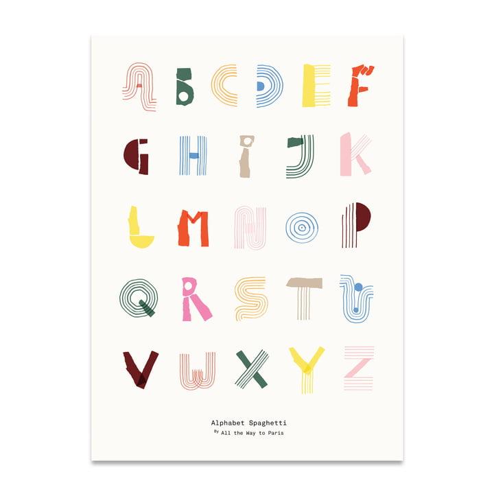 Alphabet Spaghetti 50 x 70 cm von Paper Collective