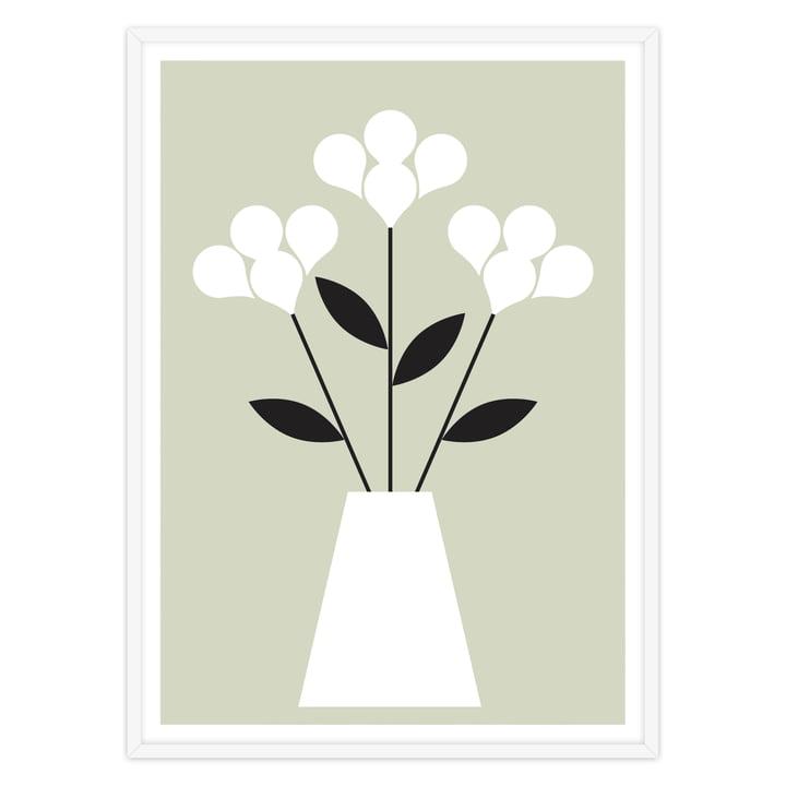 artvoll - Blumen Poster mit Rahmen, weiß