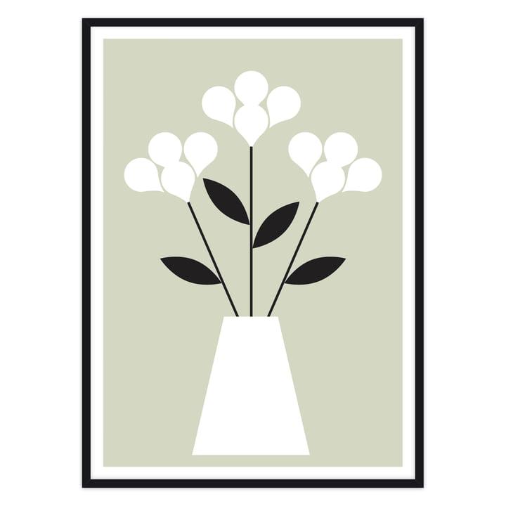 artvoll - Blumen Poster mit Rahmen, schwarz