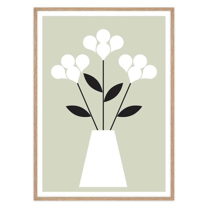 artvoll - Blumen Poster mit Rahmen, Eiche