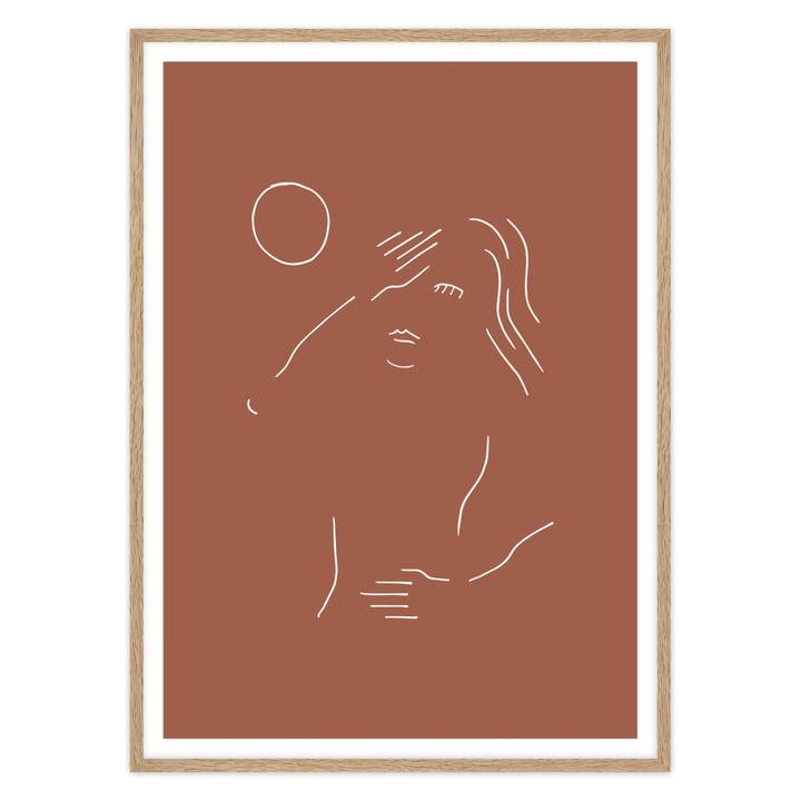 artvoll - Sonnenanbeter, terracotta Poster mit Rahmen, Eiche