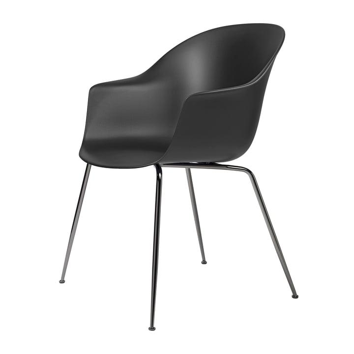 Bat Dining Stuhl von Gubi in Base schwarz verchromt / schwarz