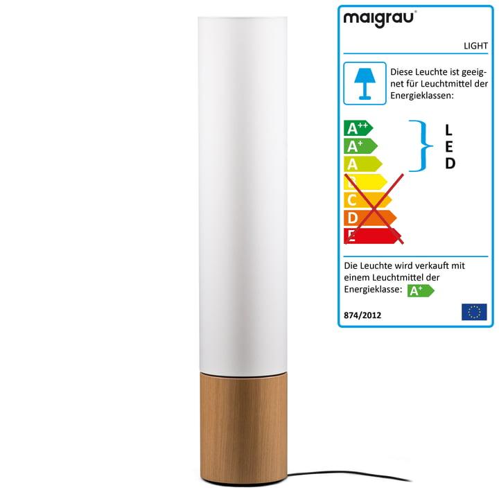 LIGHT 130 LED Stehleuchte, Eiche natur, weiß von Maigrau