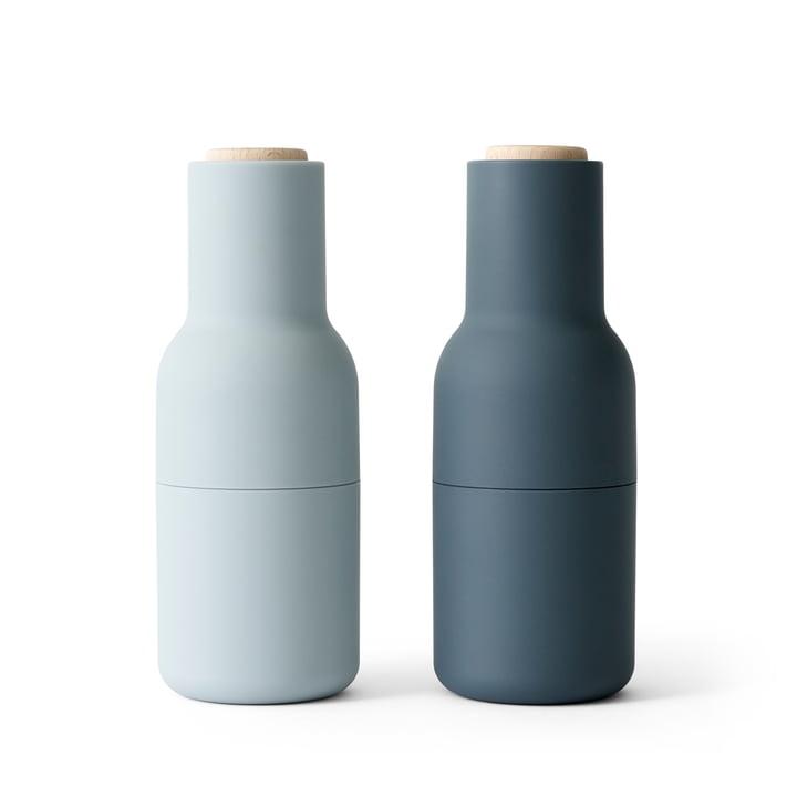 Bottle Salz- und Pfeffermühlen Set von Menu in blues (Holzdeckel)