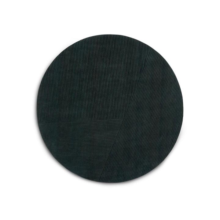Row Teppich, rund / dunkelgrün von Northern