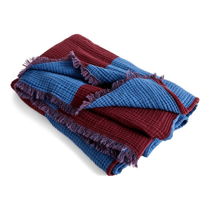 Crinkle Stripe Plaid, 210 x 150 cm, burgundy von Hay