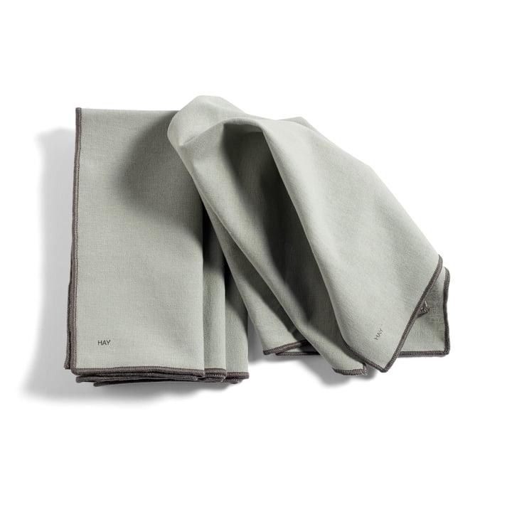 Contour Serviette, 40 x 40 cm, grau (4er-Set) von Hay