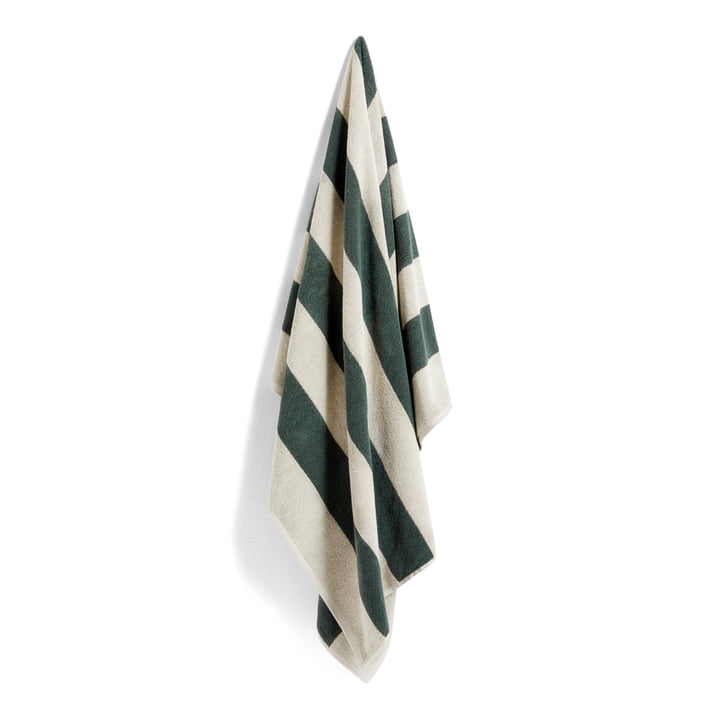 Frotté Stripe Badetuch, 100 x 150 cm, dunkelgrün von Hay