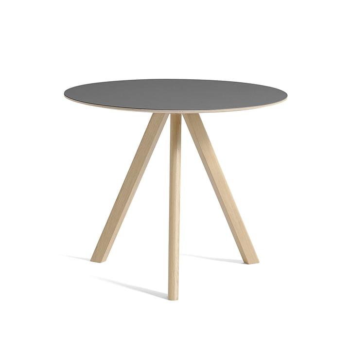 Copenhague CPH20 Tisch Ø 90 cm von Hay in Eiche lackiert / Linoleum grau