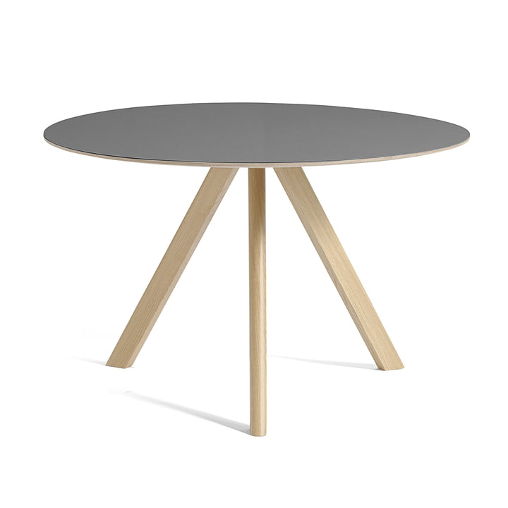 Copenhague CPH20 Tisch Ø 120 cm von Hay in Eiche lackiert / Linoleum grau