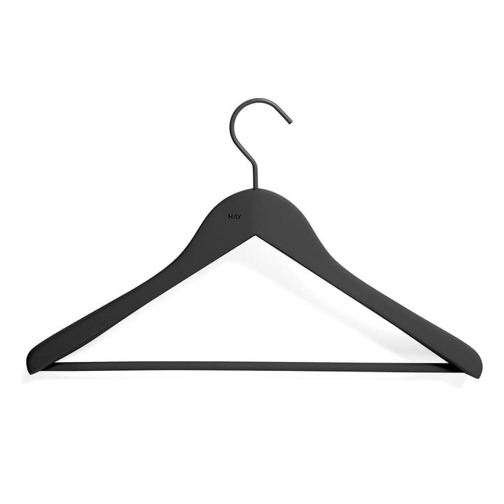 Soft Coat Kleiderbügel mit Steg von Hay in schwarz