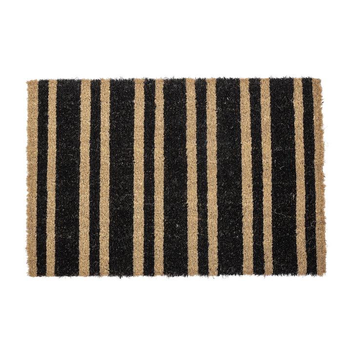 Fußmatte gestreift von Bloomingville in schwarz / natur