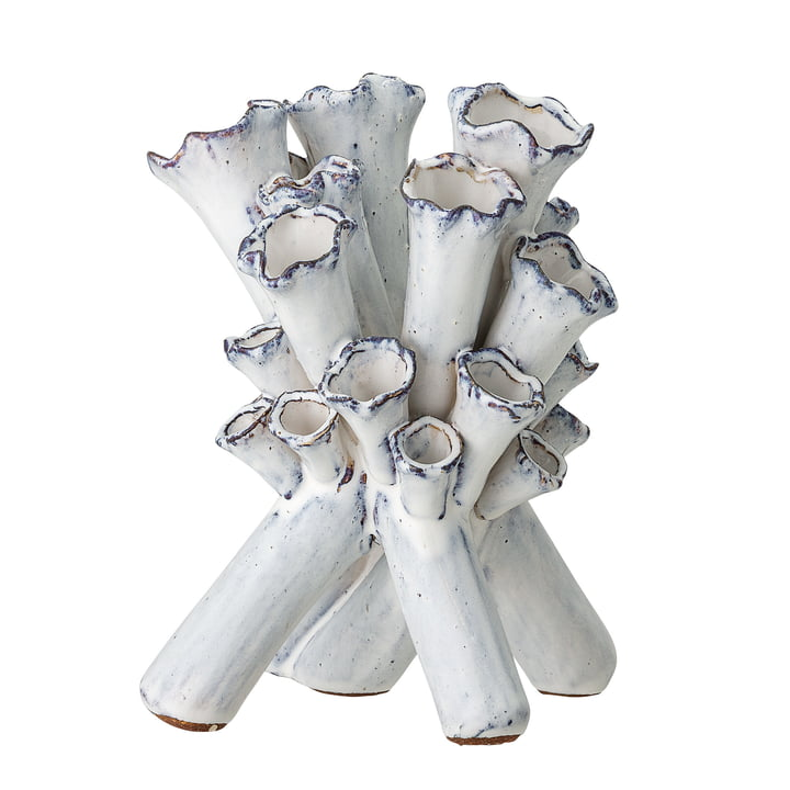 Flötenvase H 23 cm von Bloomingville in weiß