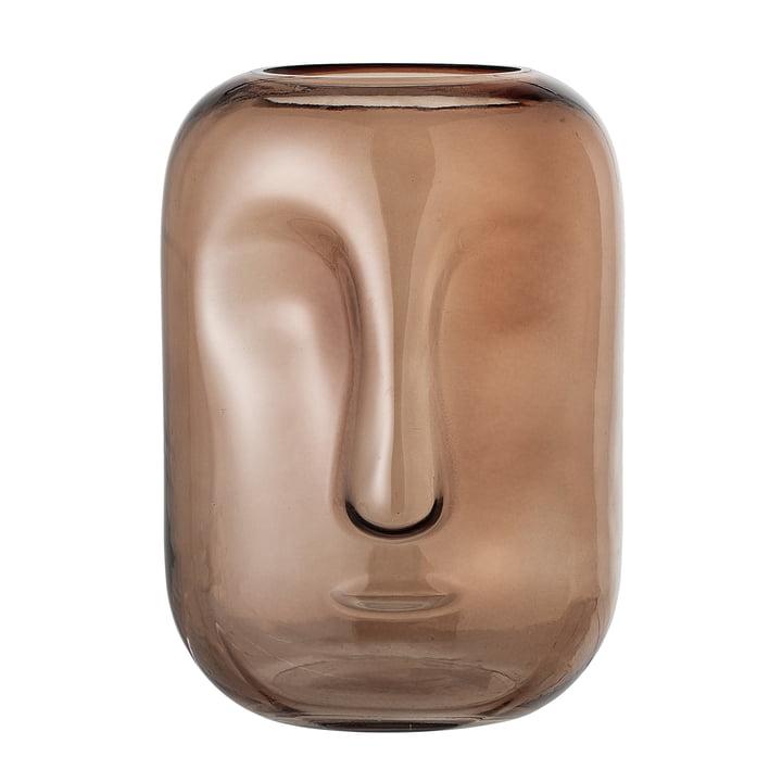 Vase mit Gesicht aus Glas von Bloomingville in braun