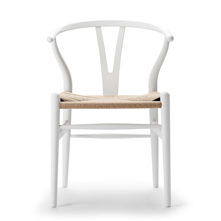 CH24 Wishbone Chair von Carl Hansen in soft white / Naturgeflecht