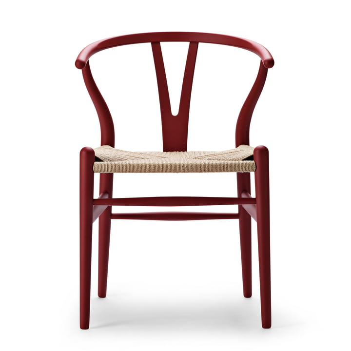 CH24 Wishbone Chair von Carl Hansen in soft red / Naturgeflecht