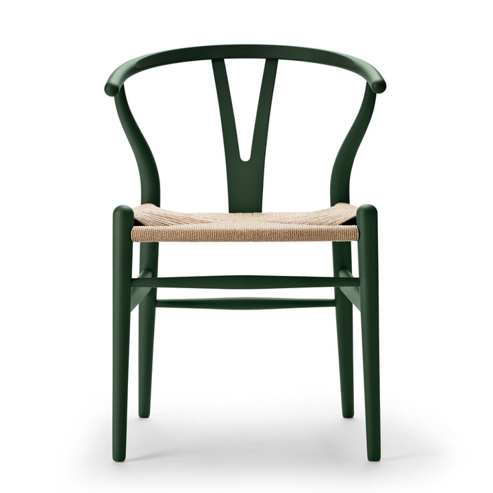 CH24 Wishbone Chair von Carl Hansen in soft green / Naturgeflecht