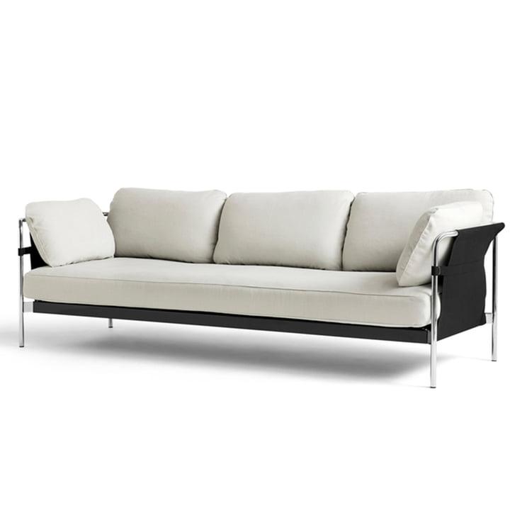 Can 2.0 Sofa 3-Sitzer von Hay in Chrom / Canvas natur / Linara 311