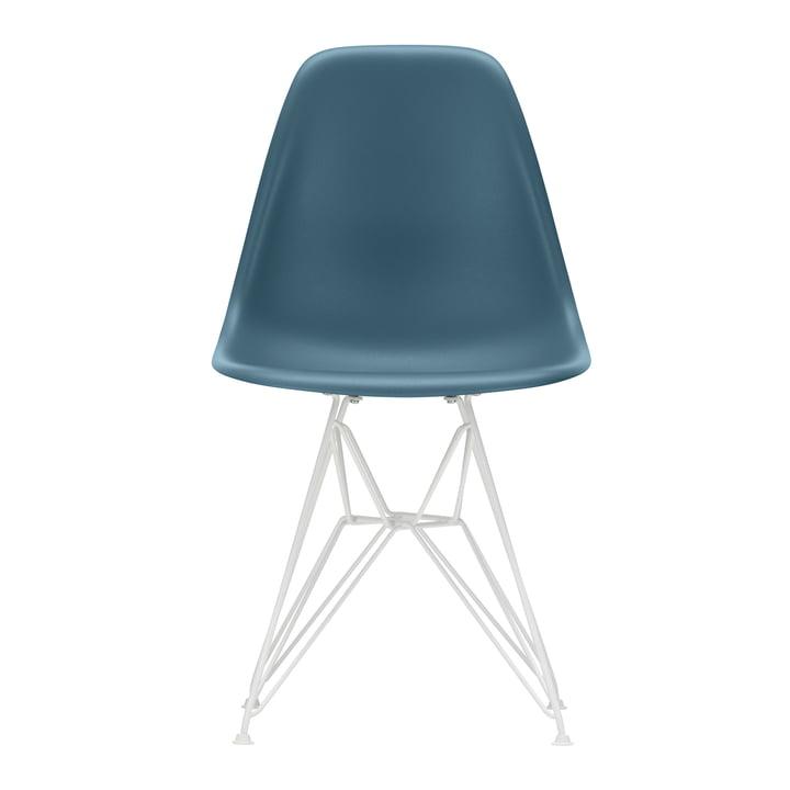 Eames Plastic Side Chair DSR von Vitra in weiß / meerblau (Filzgleiter weiß)
