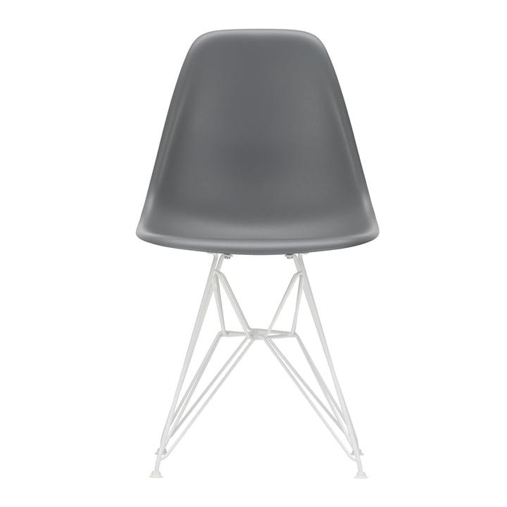Eames Plastic Side Chair DSR von Vitra in weiß / granitgrau (Filzgleiter weiß)
