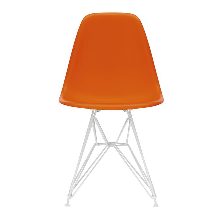 Eames Plastic Side Chair DSR von Vitra in weiß / rostorange (Filzgleiter weiß)