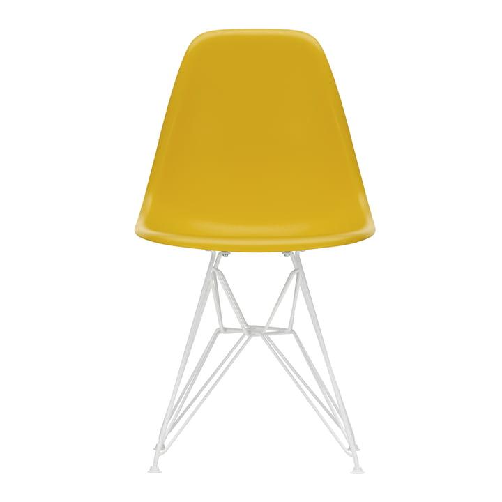 Eames Plastic Side Chair DSR von Vitra in weiß / senf (Filzgleiter weiß)