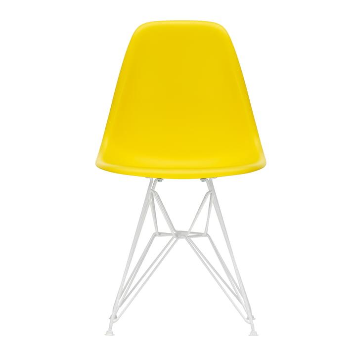 Eames Plastic Side Chair DSR von Vitra in weiß / sunlight (Filzgleiter weiß)