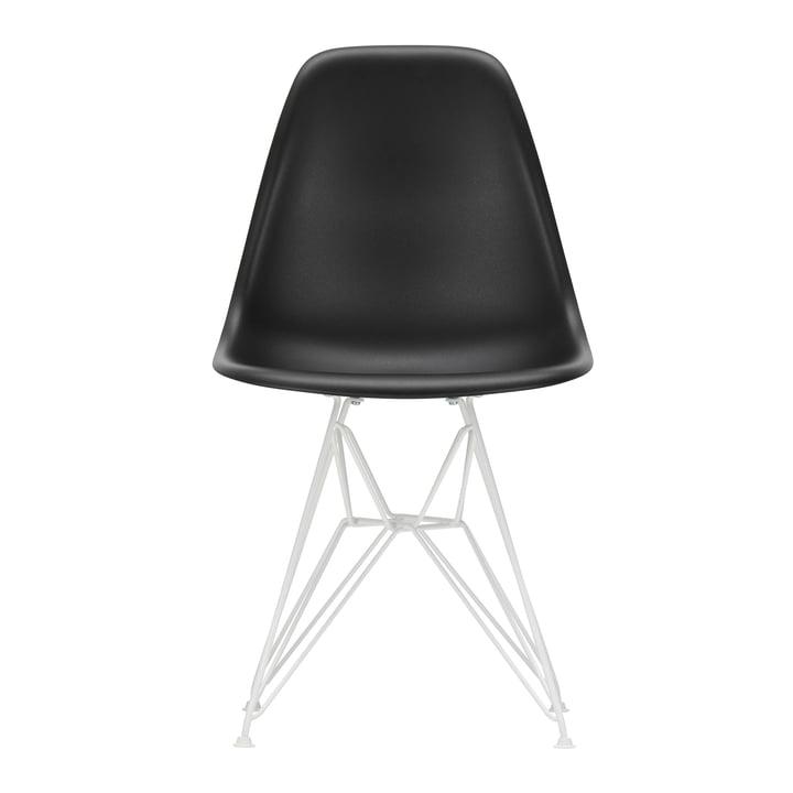 Eames Plastic Side Chair DSR von Vitra in weiß / tiefschwarz (Filzgleiter weiß)