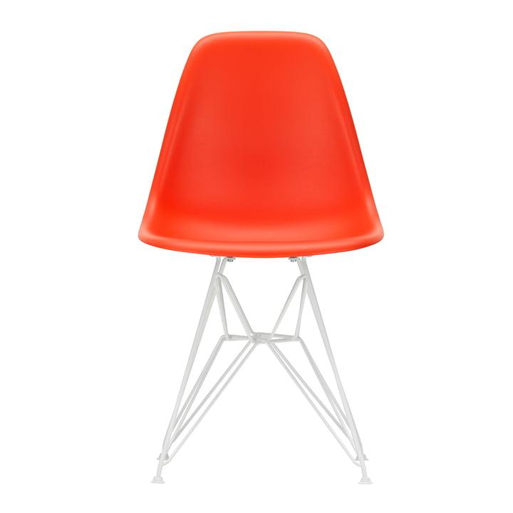 Eames Plastic Side Chair DSR von Vitra in weiß / poppy red (Filzgleiter weiß)