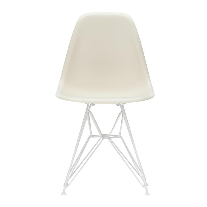 Eames Plastic Side Chair DSR von Vitra in weiß / kieselstein (Filzgleiter weiß)