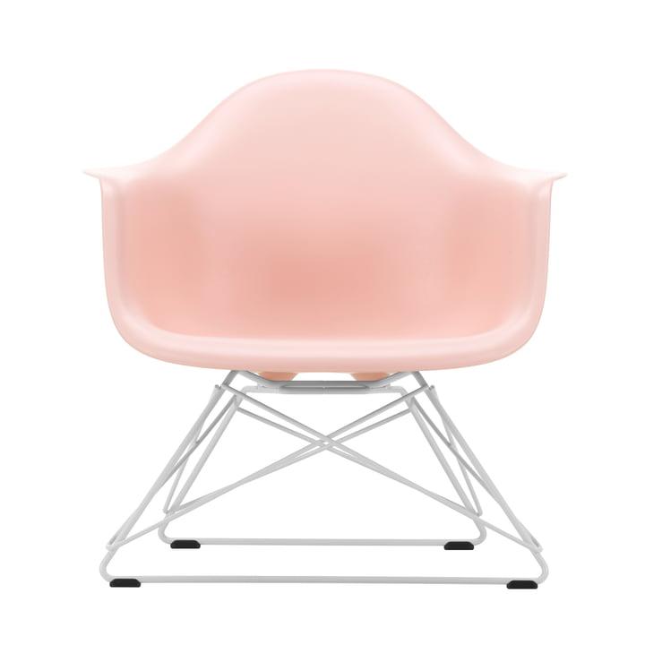 Eames Plastic Armchair LAR von Vitra in weiß / zartrosé (Filzgleiter basic dark)