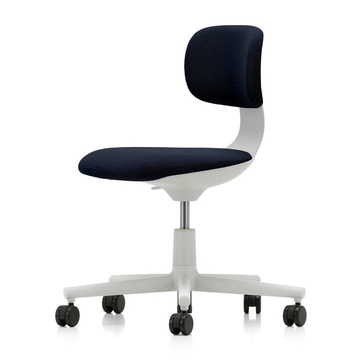 Rookie Bürostuhl von Vitra in soft grey / Volo nachtblau (Rolle hart gebremst für Teppichboden)