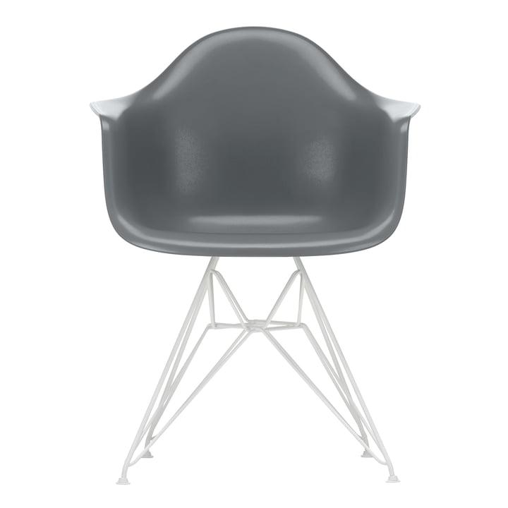 Eames Plastic Armchair DAR von Vitra in weiß / granitgrau (Filzgleiter weiß)
