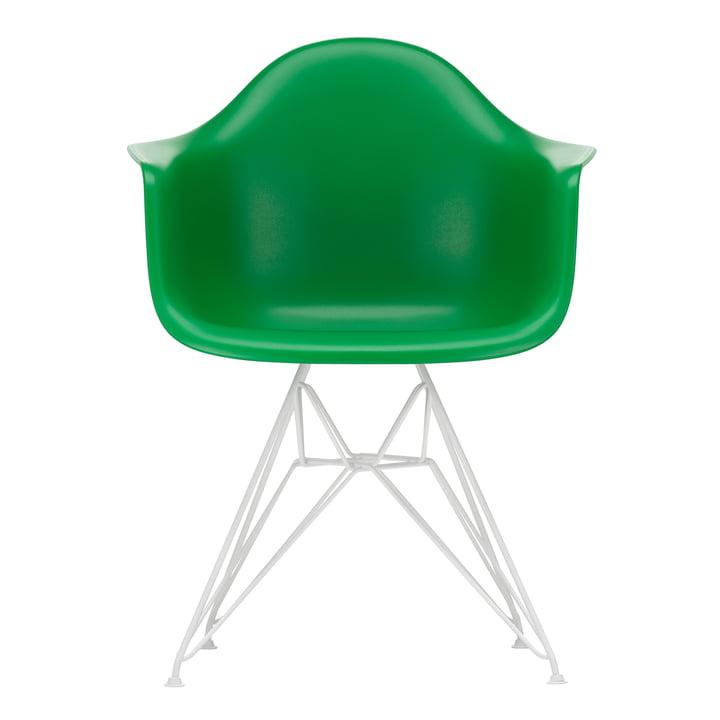 Eames Plastic Armchair DAR von Vitra in weiß / grün (Filzgleiter weiß)