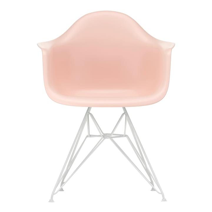 Eames Plastic Armchair DAR von Vitra in weiß / zartrosé (Filzgleiter weiß)