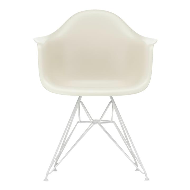 Eames Plastic Armchair DAR von Vitra in weiß / kieselstein (Filzgleiter weiß)