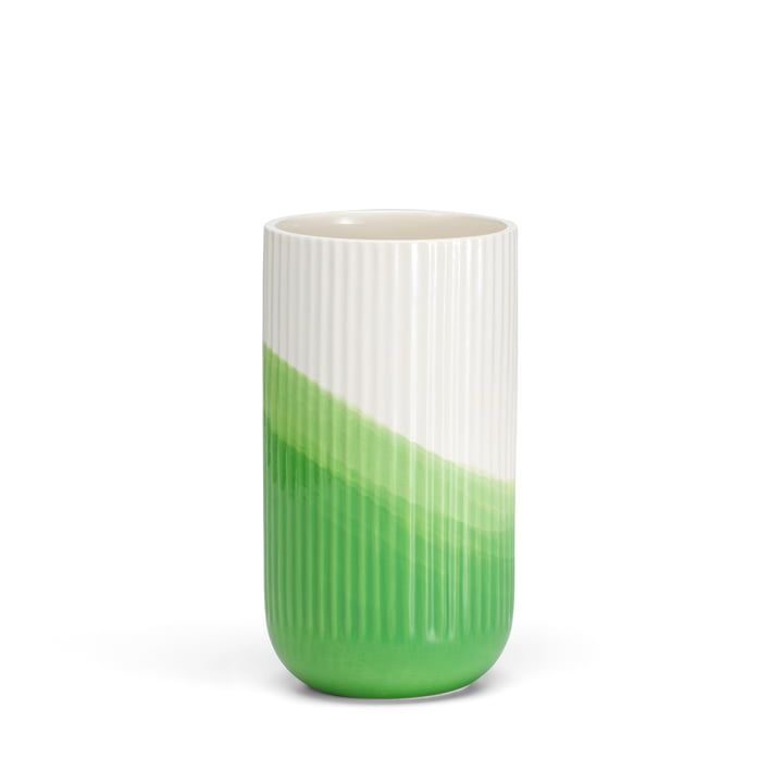 Herringbone Vase geriffelt H 24,5 cm von Vitra in grün