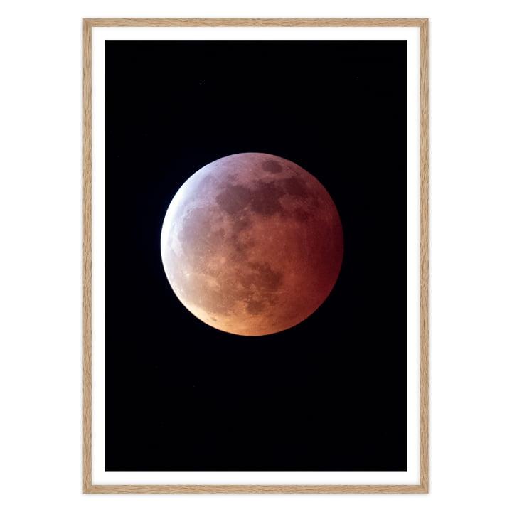 Mond Poster in Schwarz mit Bilderrahmen