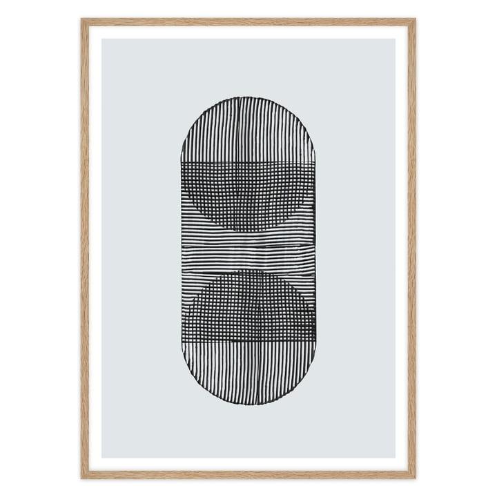 artvoll - Linear Shapes 02 mit Rahmen in Eiche