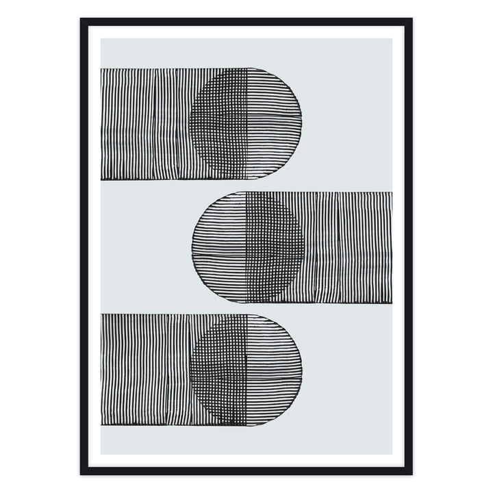 Abstrakter Art Print in Grau und Schwarz