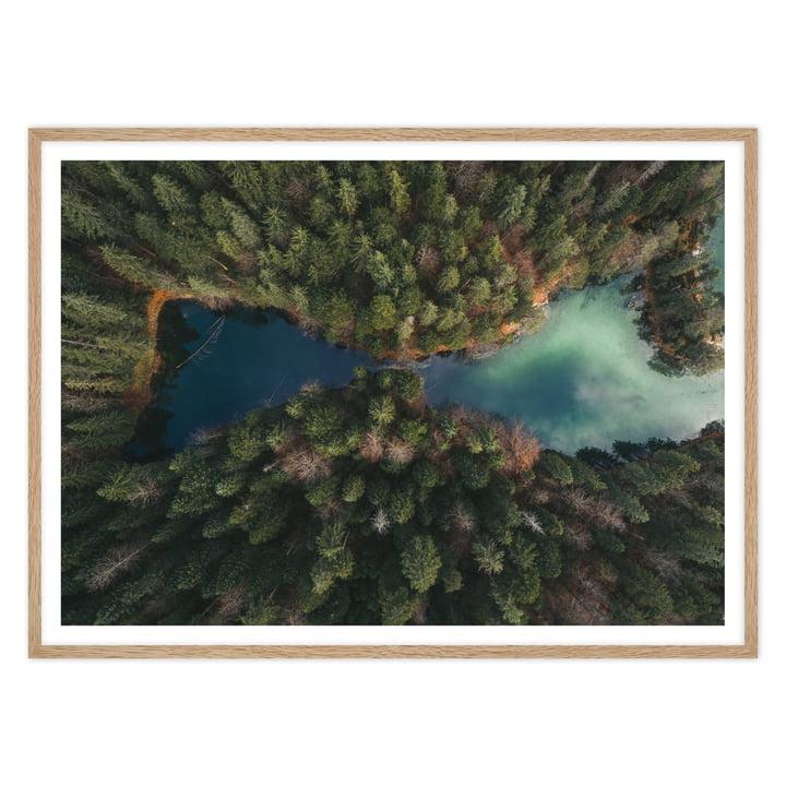 XXL Landschafts-Fotografie Mirror Lake mit Eichenholz-Bilderrahmen