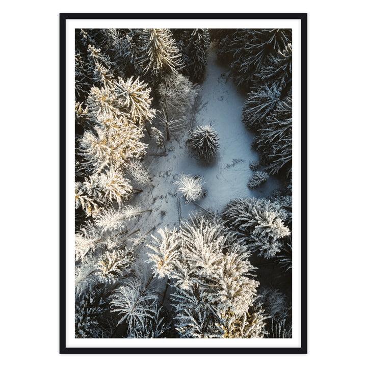 Schnee-Landschaft Foto mit schwarzem Rahmen