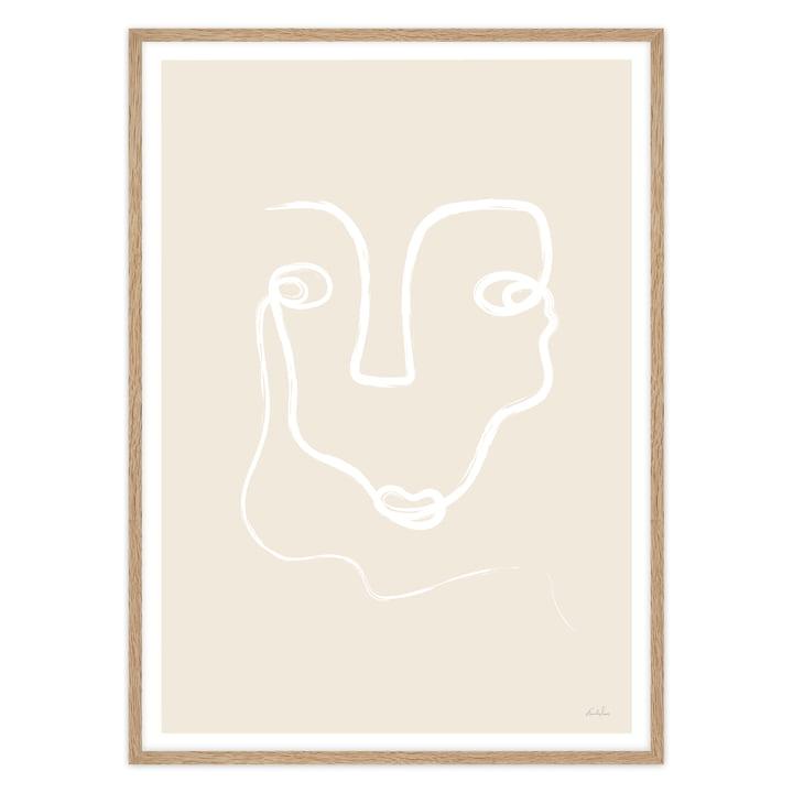 Minimalistisches Poster mit Gesicht in Eichenholzrahmen