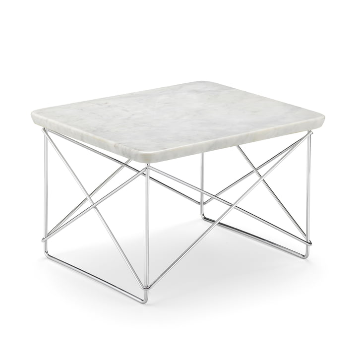Eames Occasional Table LTR von Vitra in Marmor hell / Chrom