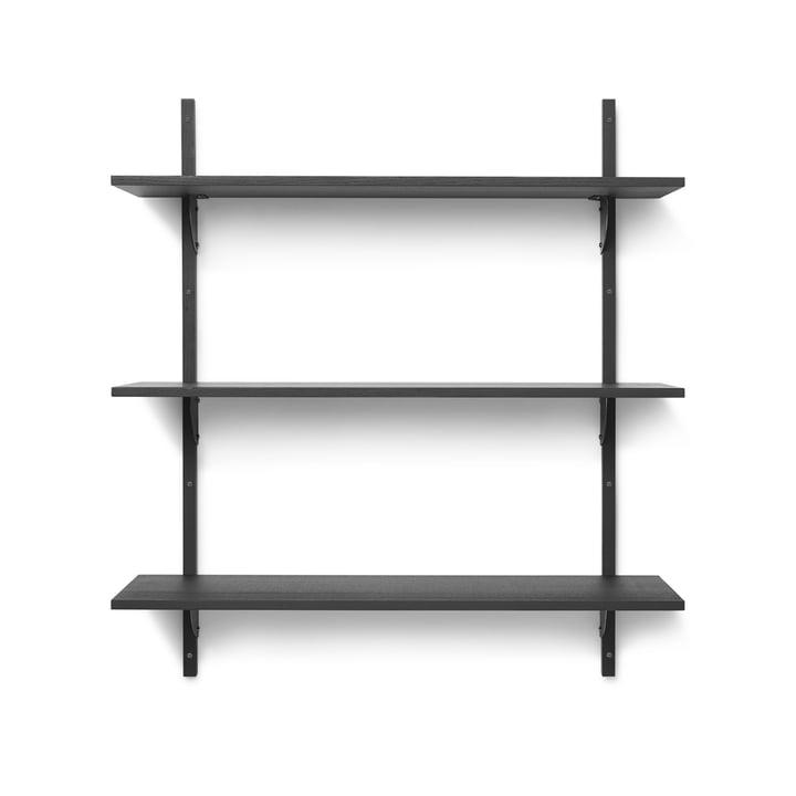 Sector Wandregal triple, 87 cm, Esche schwarz / Messing schwarz von ferm Living