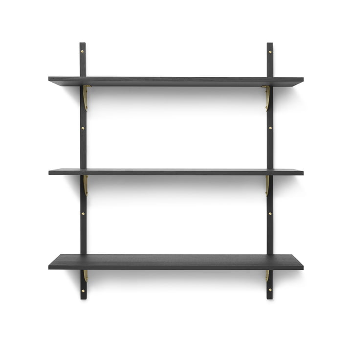 Sector Wandregal triple, 87 cm, Esche schwarz / Messing von ferm Living